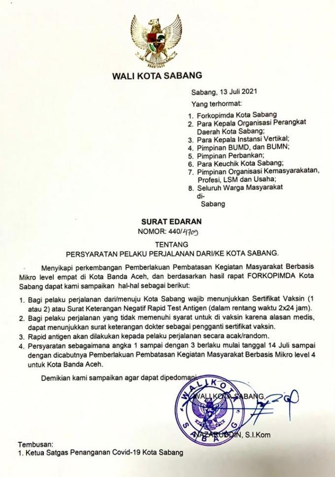 Sertifikat Vaksin Jadi Syarat Warga Sabang Berangkat Ke Banda Aceh